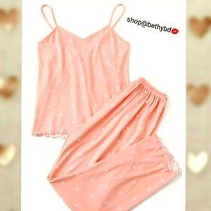 5 🌟fave Cami Pjs Lettuce trim Baby Pink